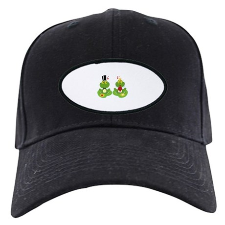 cute bride and groom froggy frog couple Black Cap