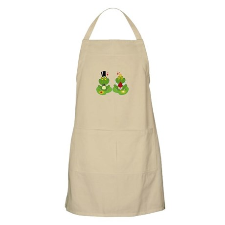 cute bride and groom froggy frog couple Apron