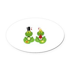 cute bride and groom froggy frog couple Oval Car M