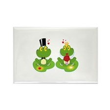 cute bride and groom froggy frog couple Rectangle