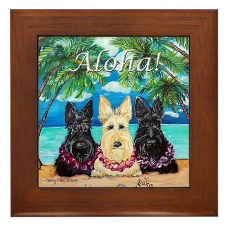 Scottish Terrier Aloha Paradise! Framed Tile