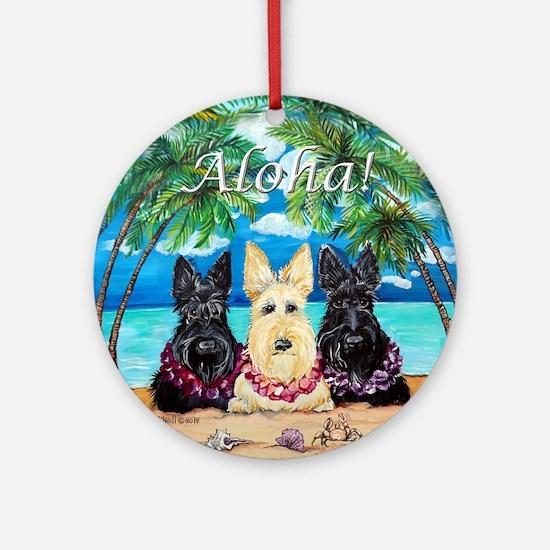 Scottish Terrier Aloha Paradise! Ornament (Round)
