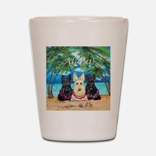 Scottish Terrier Aloha Paradise! Shot Glass