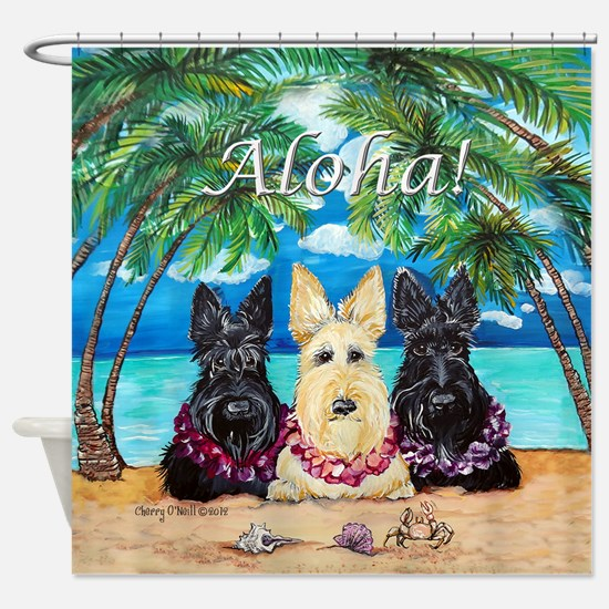 Scottish Terrier Aloha Paradise! Shower Curtain