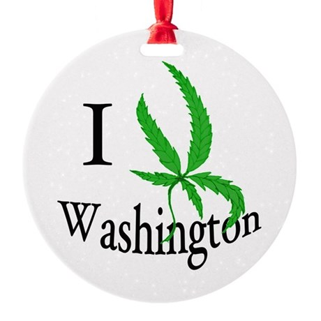 I cannabis Washington Round Ornament