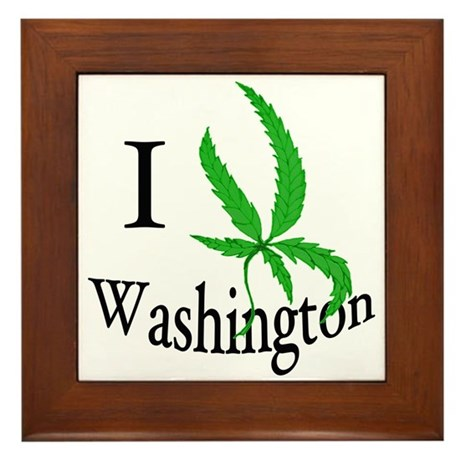 I cannabis Washington Framed Tile