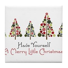 Merry Little Christmas Tile Coaster