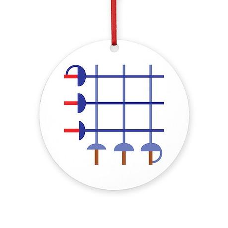 Fencing Sword Grid Ornament (Round)