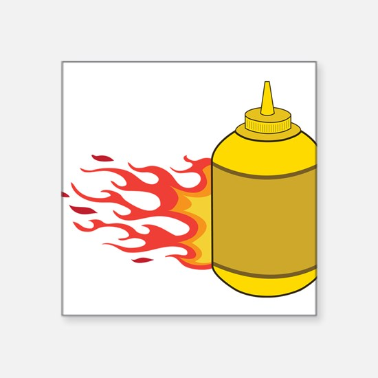 "Mustard Bottle Square Sticker 3"" x 3"""