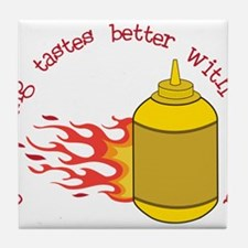 Better With Mustard Tile Coaster