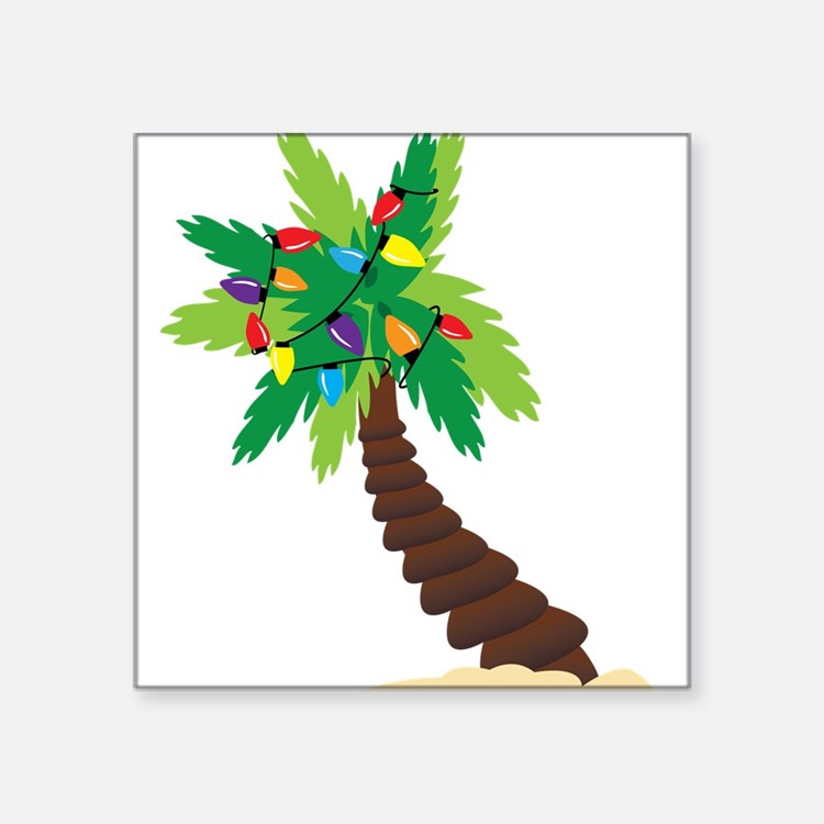 "Christmas Palm Tree Square Sticker 3"" x 3"""
