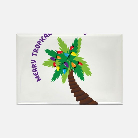 Merry Tropical Christmas Rectangle Magnet