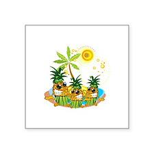 "Sunglass Pineapple Trio Square Sticker 3"" x 3"""