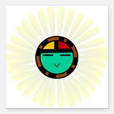 "Native American Sun God Square Car Magnet 3"" x 3"""