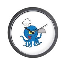 cute blue octopus chef with serving platter Wall C