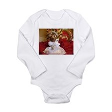 Dachshund Christmas angel Long Sleeve Infant Bodys