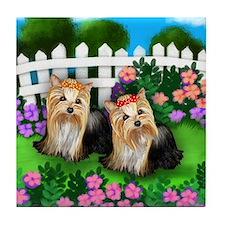 YORKSHIRE TERRIER DOGS GARDEN Tile Coaster