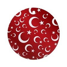 Turkish Flag Red Picture Frame Ornament (Round)