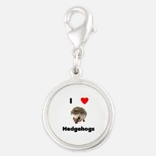 I Love Hedgehogs Silver Round Charm