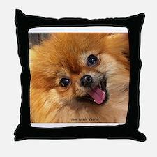 Happy Pomeranian Throw Pillow