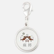 Majiang(Mahjong) Silver Round Charm