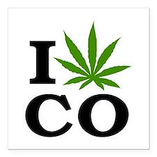 """I Love Cannabis Colorado Square Car Magnet 3"""" x 3"""""""