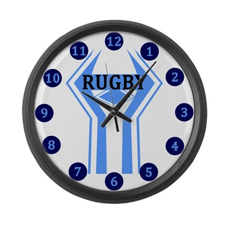 Rugby Blue And White Large Wall Clock By Mapagoda