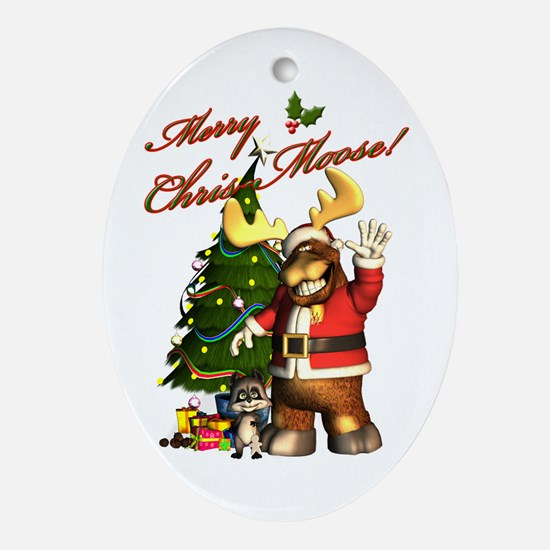 Merry Chris-Moose! Ornament (Oval)