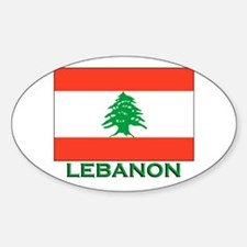 Lebanon Flag Gear Oval Decal