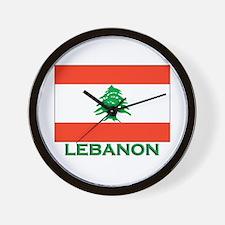 Lebanon Flag Gear Wall Clock
