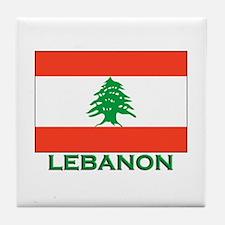 Lebanon Flag Gear Tile Coaster