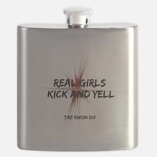 TKD Girls Kick and Yell Flask