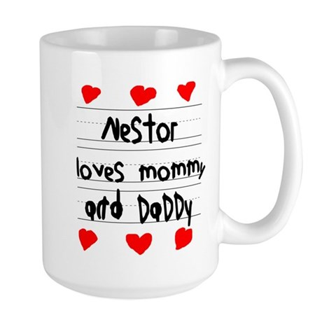 Nestor Loves Mommy and Daddy Large Mug