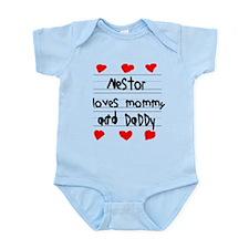Nestor Loves Mommy and Daddy Infant Bodysuit