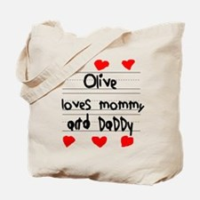 Olive Loves Mommy and Daddy Tote Bag