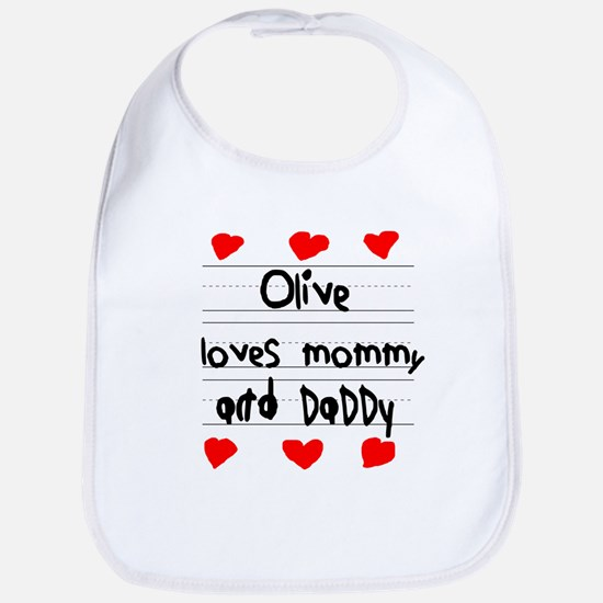 Olive Loves Mommy and Daddy Bib