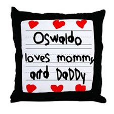 Oswaldo Loves Mommy and Daddy Throw Pillow
