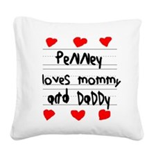 Penney Loves Mommy and Daddy Square Canvas Pillow