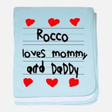 Rocco Loves Mommy and Daddy baby blanket