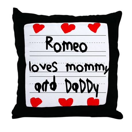 Romeo Loves Mommy and Daddy Throw Pillow