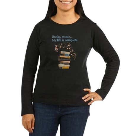 Books and music Women's Long Sleeve Dark T-Shirt