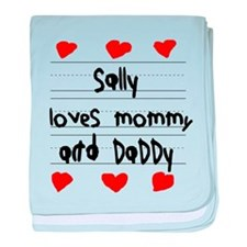 Sally Loves Mommy and Daddy baby blanket