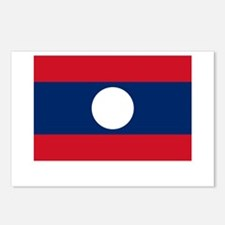 Laos Flag Picture Postcards (Package of 8)