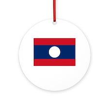 Laos Flag Picture Ornament (Round)
