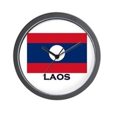 Laos Flag Stuff Wall Clock