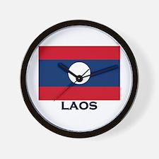 Laos Flag Stuff Wall Clock