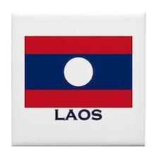Laos Flag Stuff Tile Coaster
