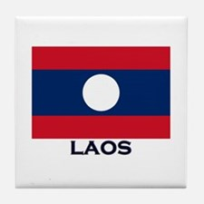 Laos Flag Stuff Tile Coaster