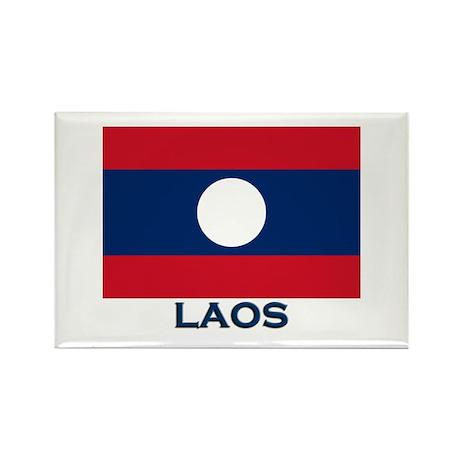 Laos Flag Gear Rectangle Magnet