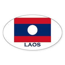 Laos Flag Gear Oval Decal